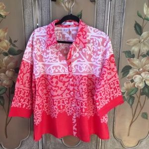 MAGGIE & MAX red and white NWT blouse  Size 2X